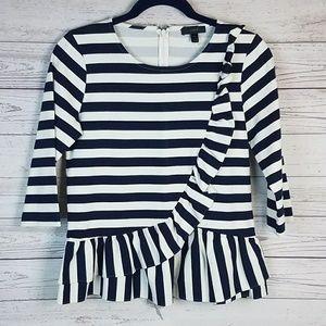 Asymmetrical Navy White Striped Ruffle Top
